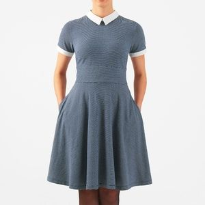 ESHAKTI COLLAR PINSTRIPE COTTON KNIT DRESS